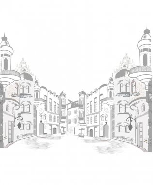 Series of old streets in sketches