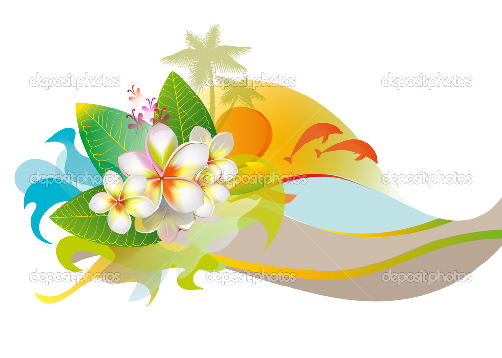 Background with frangipani flowers, beach and sun
