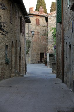 Monticchiello - Medieval village near Pienza . Tuscany. Italy stock vector