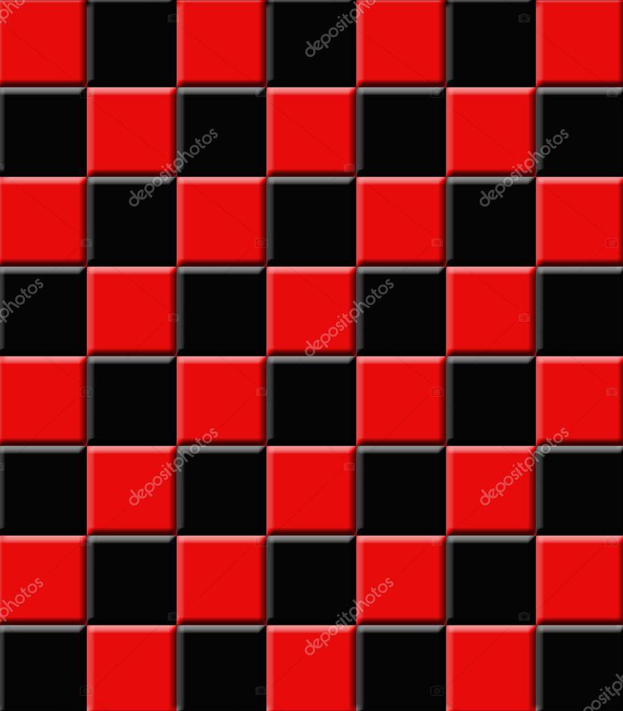 Retro Ceramic Tiles Black And Red Stock Photo