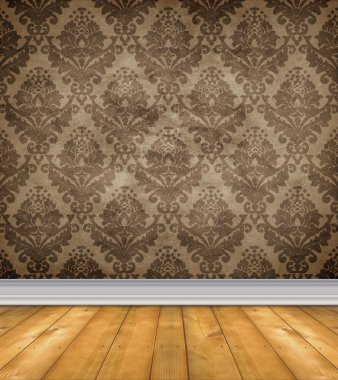Empty Damask Room With Bare Floors