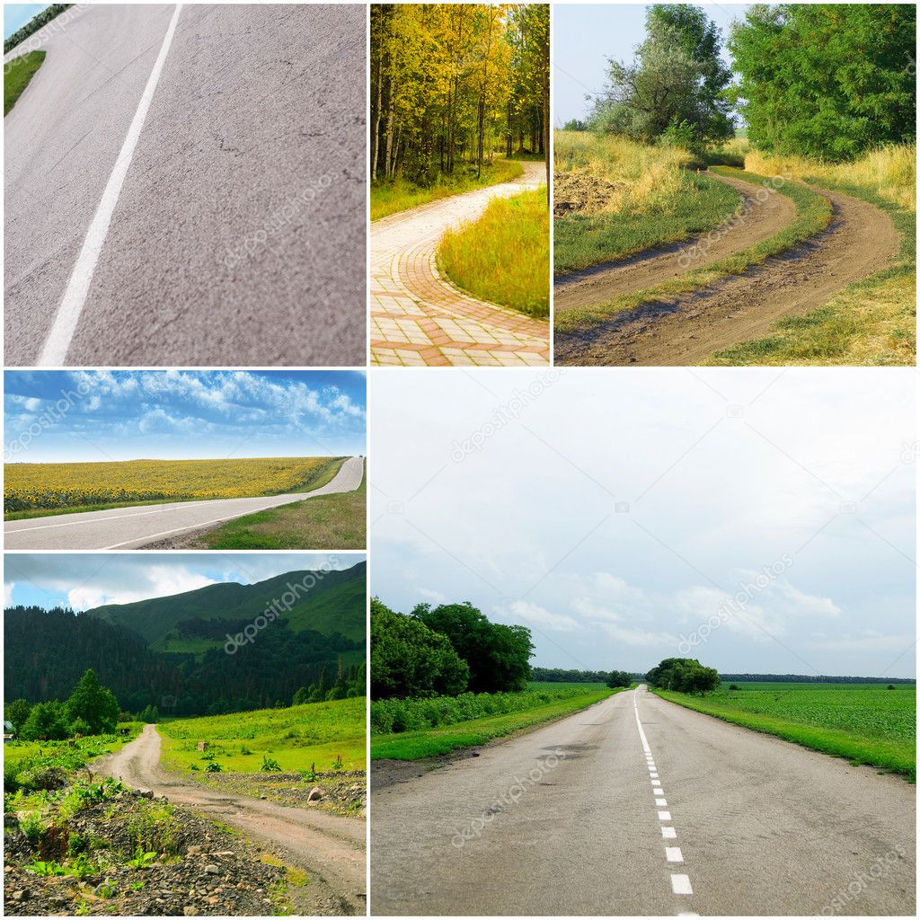 Country roads in different seasons