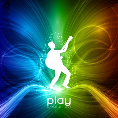 EPS10 Party Vector Background - Young Men Plays on Guitar