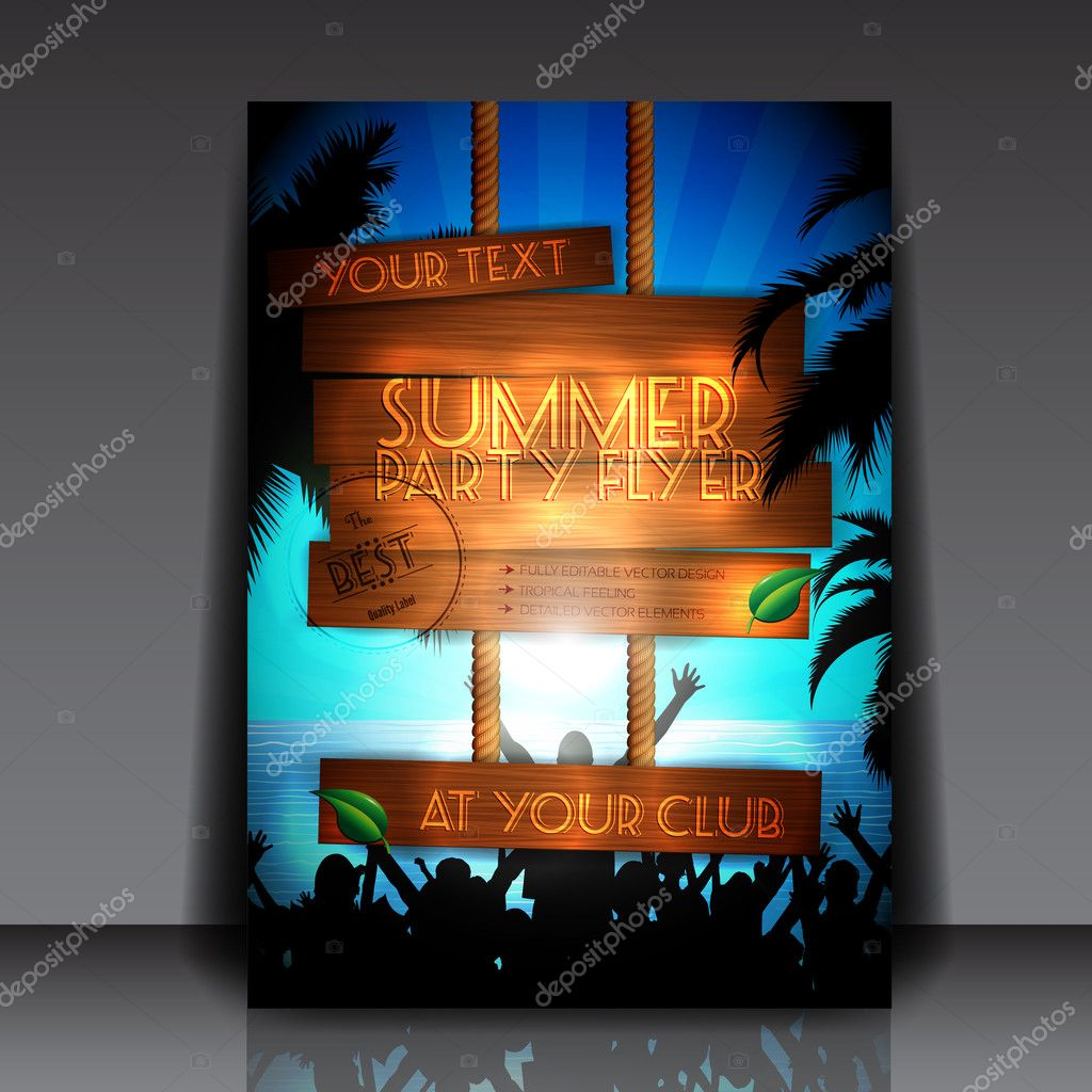 Party on the beach in summer