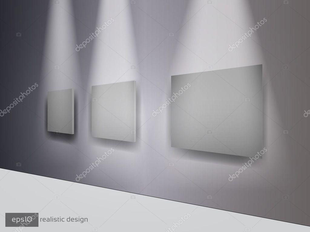 3D gris marcos de cuadros en la pared — Vector de stock © hunthomas ...