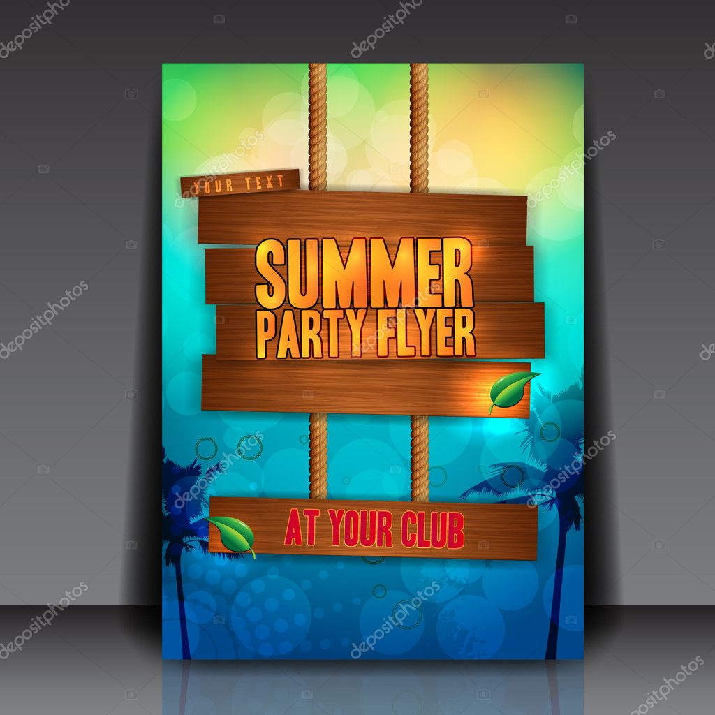 summer party flyer template stock vector hunthomas 9370091
