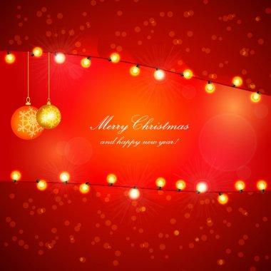 Red Holiday Xmas Vector Design with Frame