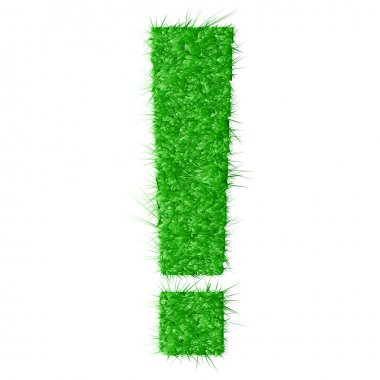 Exclamation mark made from grass isolated on white background