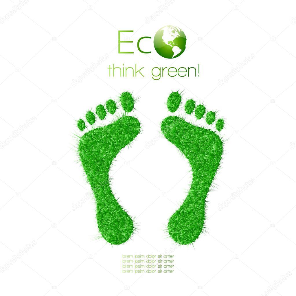 Green footprint made from grass. Think Green. Ecology Concept.