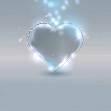 Heart made of glass on silver background, eps10 vector illustration clip art vector