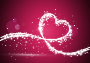 Heart formed with shiny lights