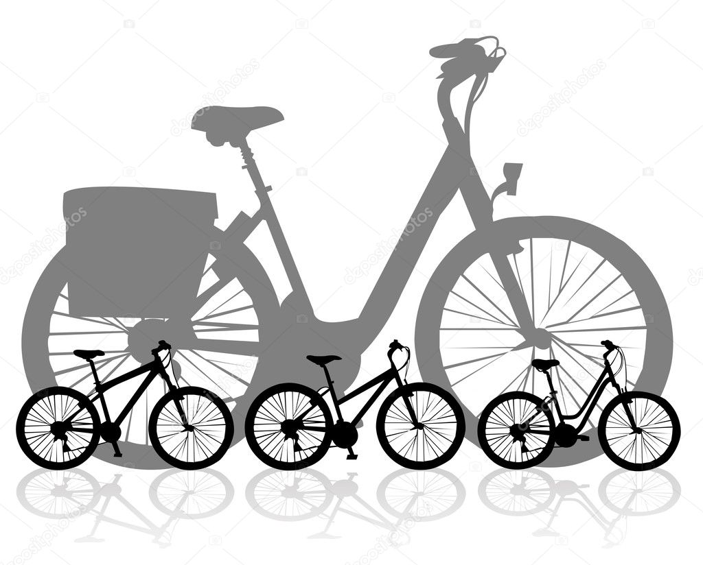 Many silhouettes illustration of a modern mountain bike