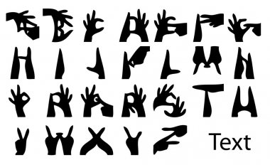 Vector Illustration of Sign Language Hands and Alphabet