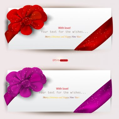 Collection of gift cards with ribbons. Vector background clip art vector