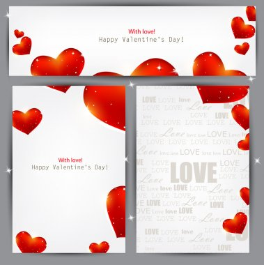 Set of three banners with red hearts. Valentine's Day. Vector background clip art vector