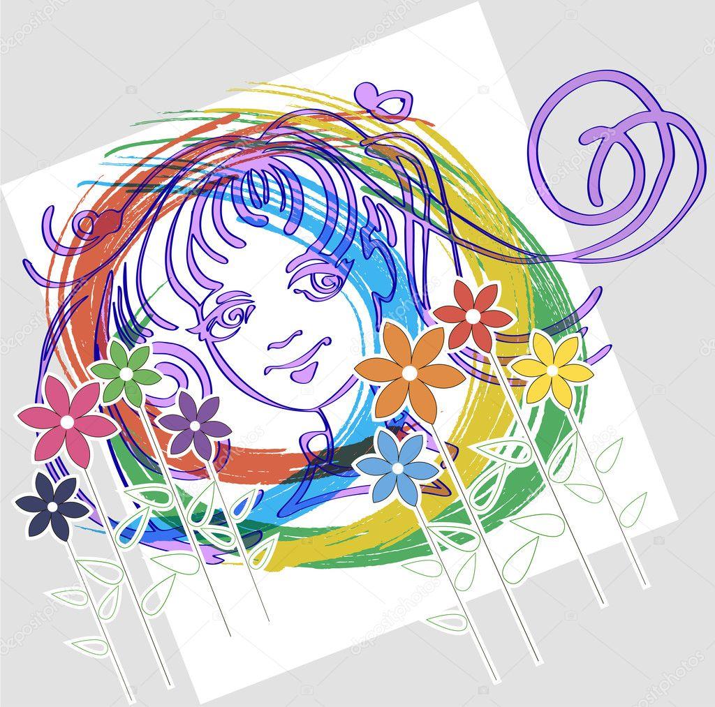 zeichnen das Gesicht-Mädchen — Stockvektor © bonairina #9058261