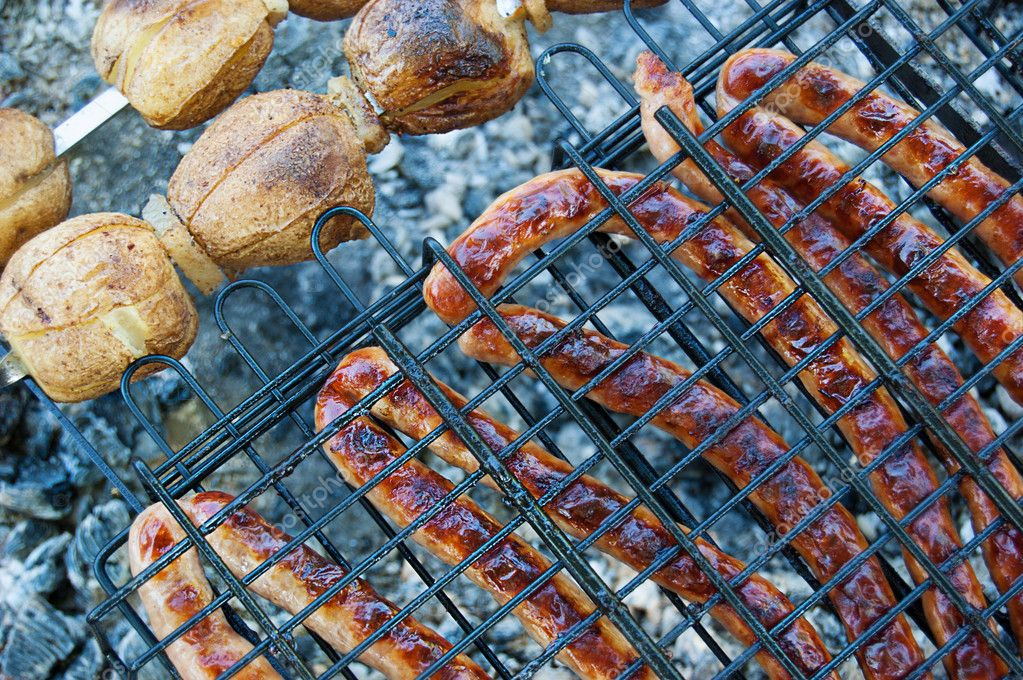 Sausages and potato barbecue