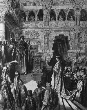 The Queen of Sheba visiting Solomon.