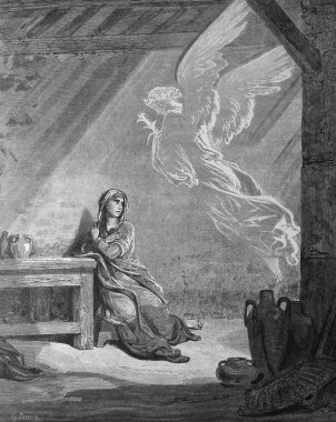 Angel Gabriel and the Mary. Annunciation.