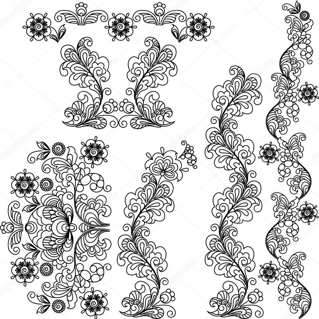 Disegno Floreale Stilizzato Un Insieme Di Elementi E Di Confini