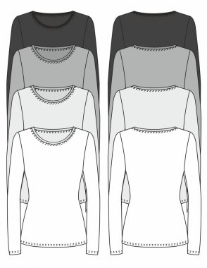 Long-sleeved T-shirt design template (front & back)
