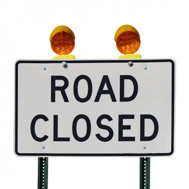 Road closed sign against a white background