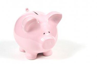Pink Piggy Bank on white background 2