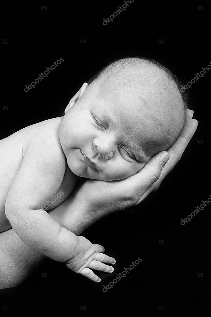 Pictures Baby Black And White Newborn Baby In Mother Hand Black And White Stock Photo C Melking 9004069