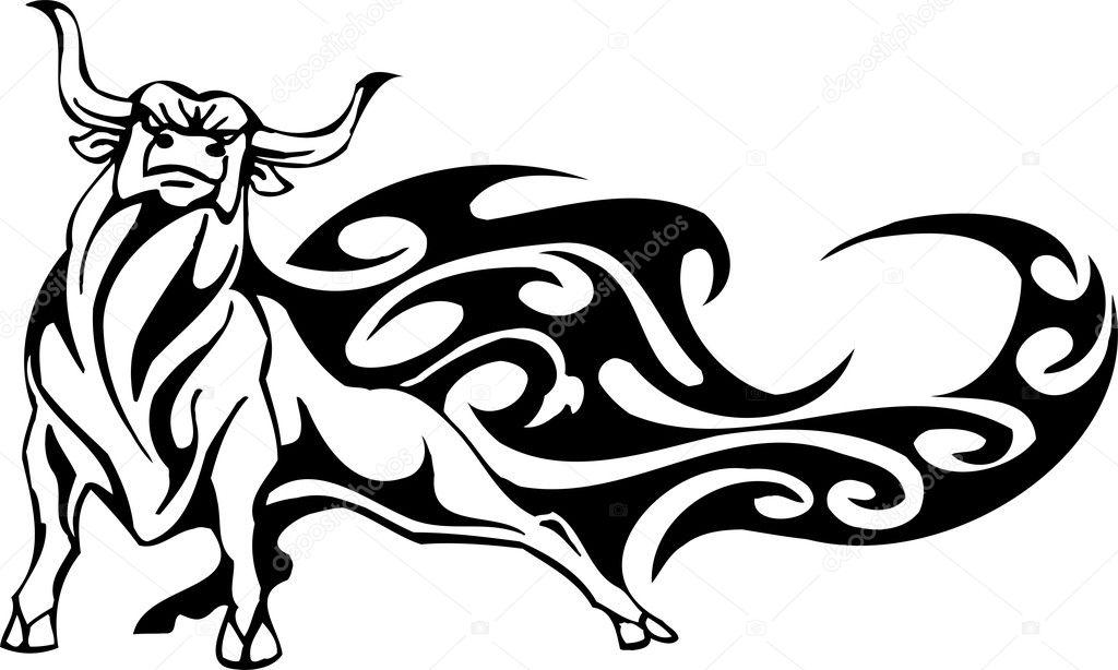 bull in tribal style vector image stock vector digital rh depositphotos com bill vector bulls vector logo