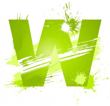 Green abstract paint splashes font. Letter W