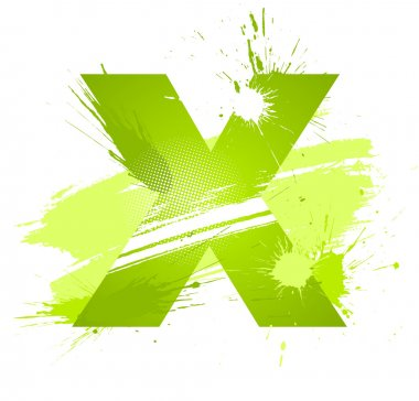 Green abstract paint splashes font. Letter X