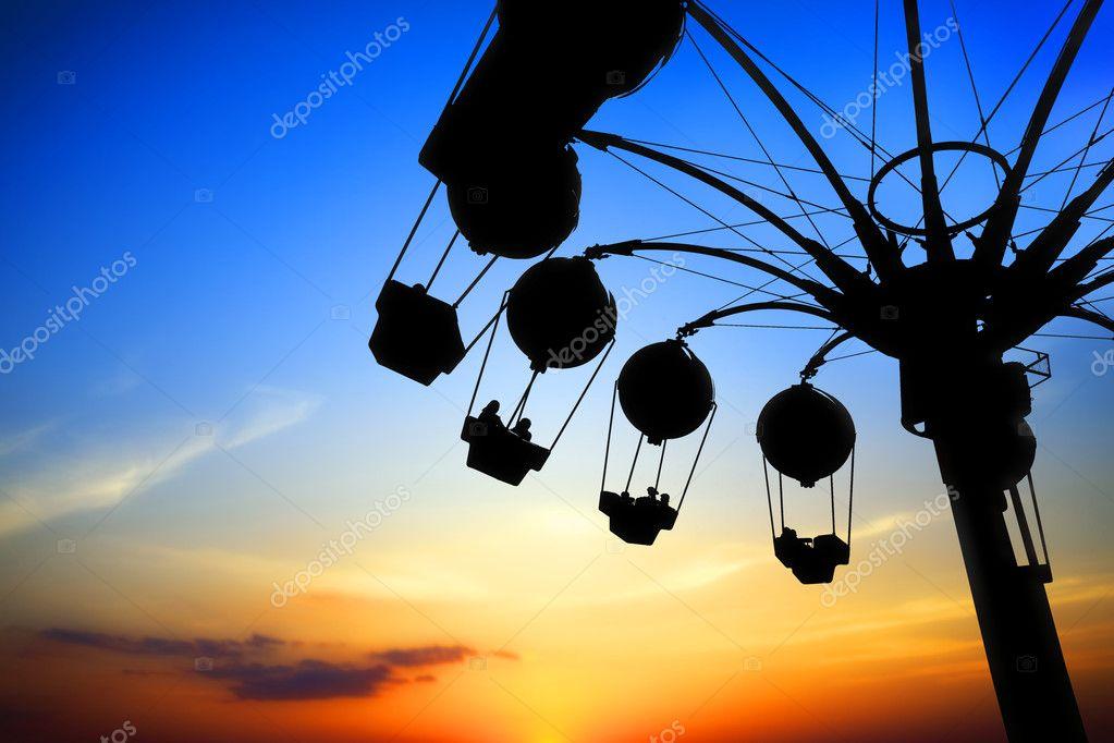 Amusement park at sunset