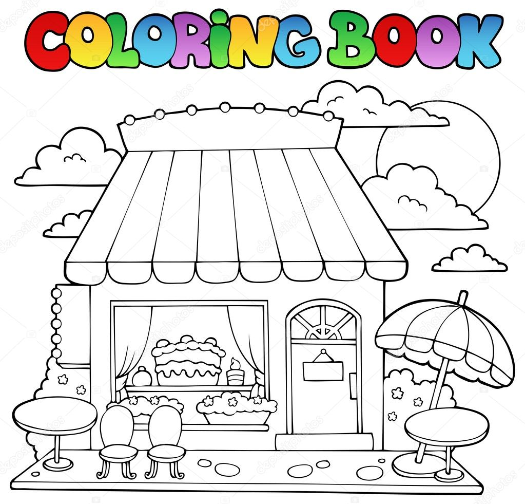 Coloring book cartoon candy store — Stock Vector © clairev #10246488