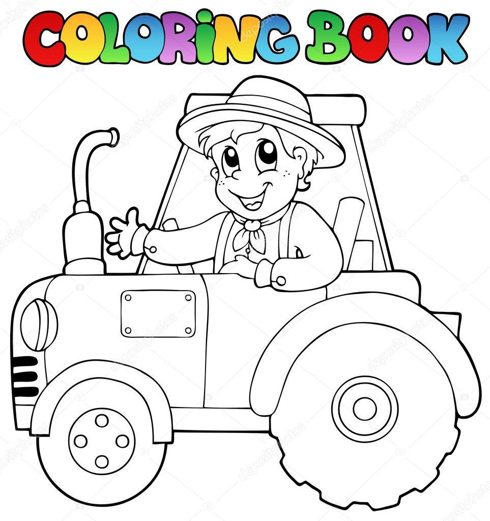 Traktör Boyama Kitabı çiftçi Stok Vektör Clairev 10246515