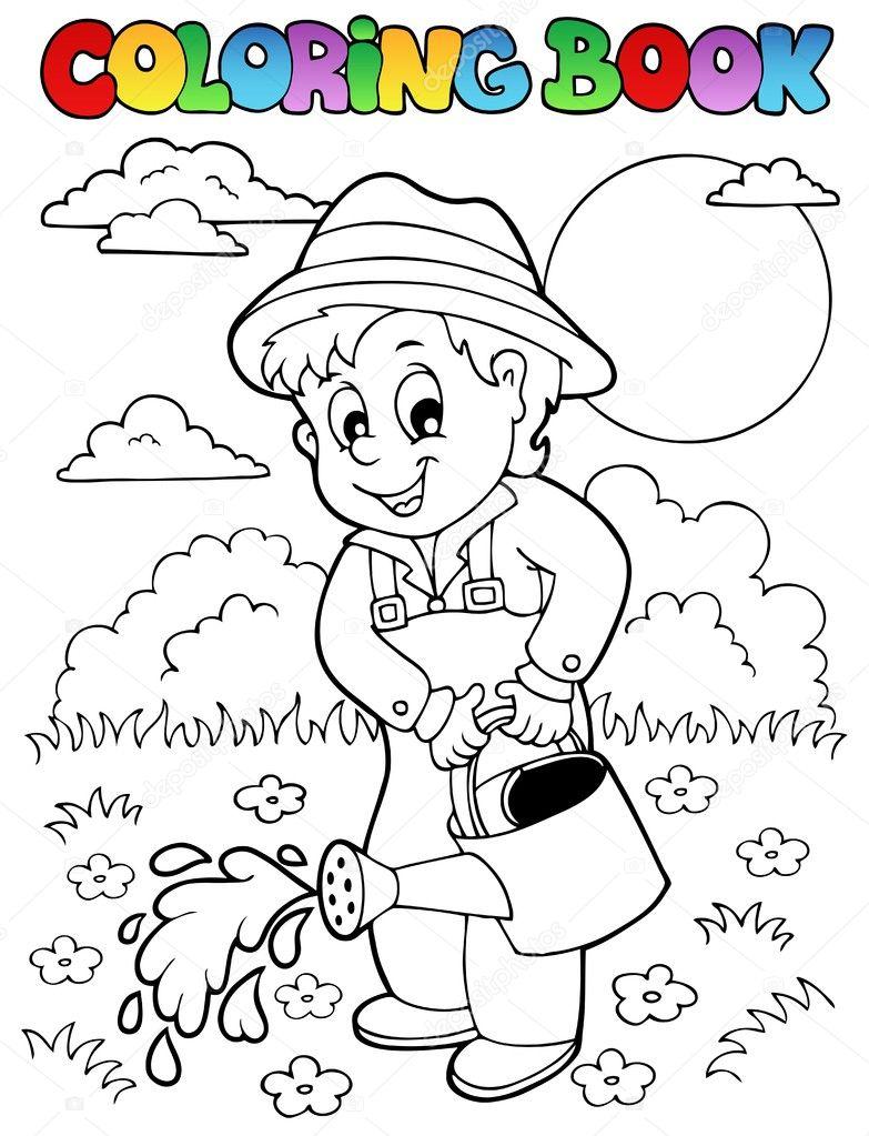 Coloring book garden and gardener stock vector clairev Coloring book your photos