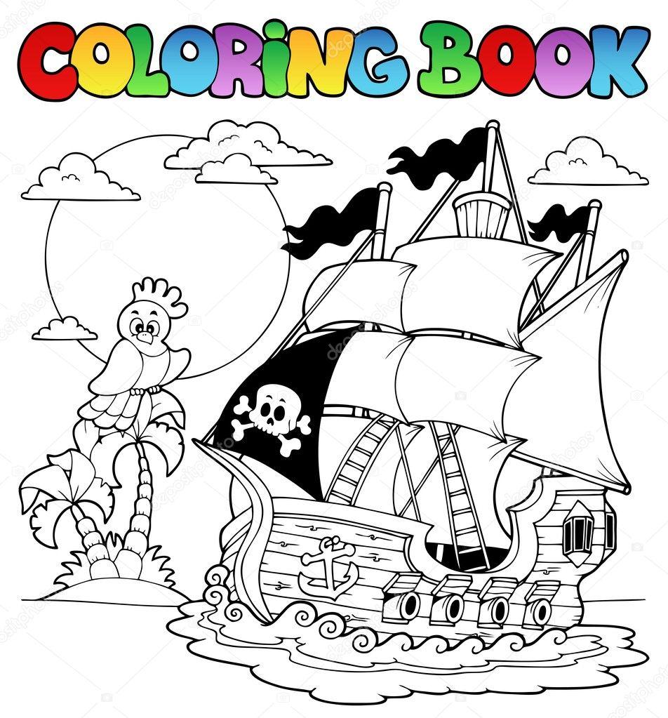 Книжка-раскраска с пиратский корабль 2 — Векторное ...