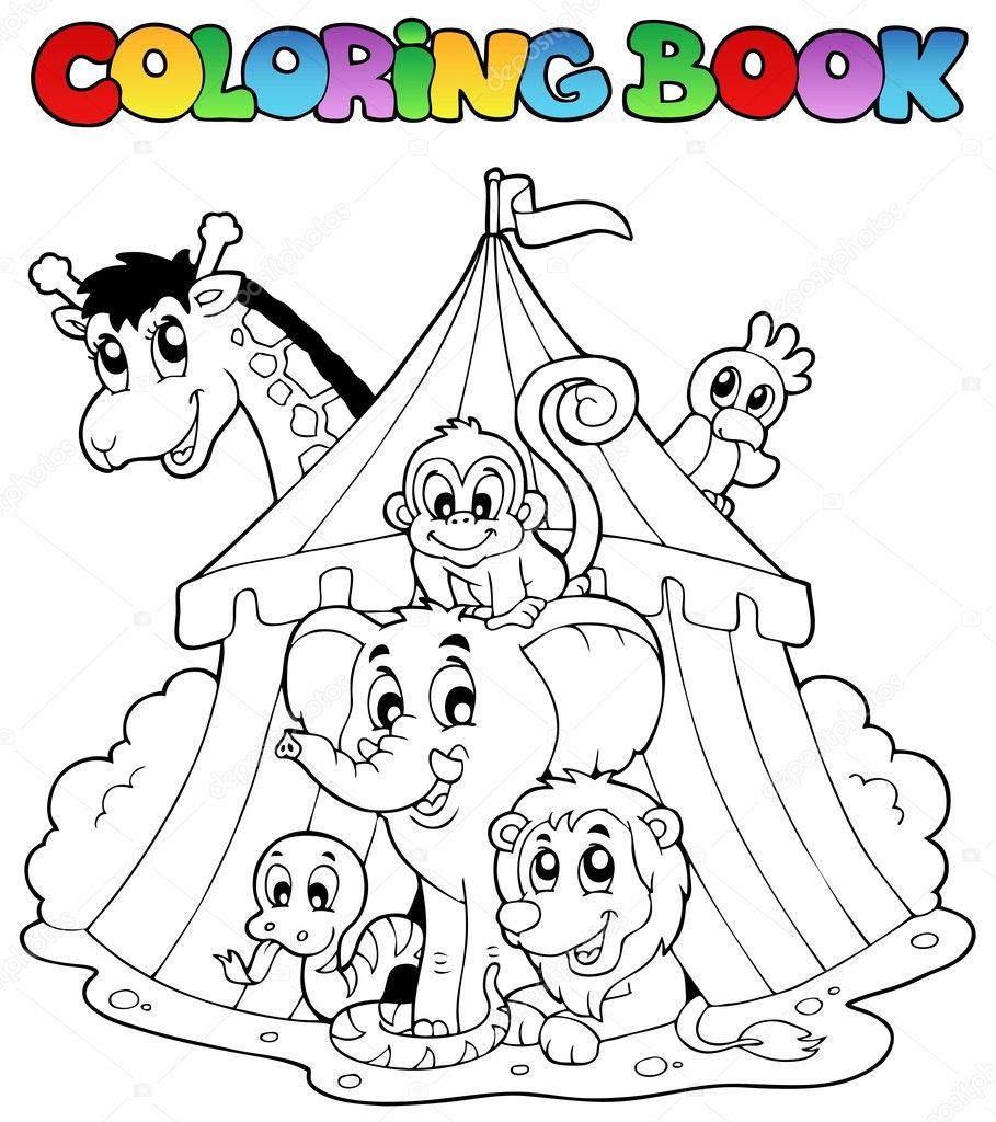 Livre à colorier animaux sous tente 40