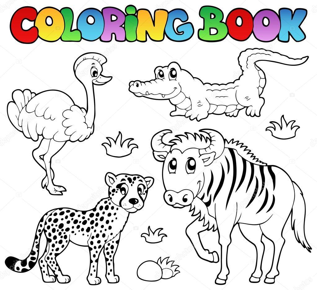 Coloriage Animaux De Savane De Livre 2 Image Vectorielle Clairev