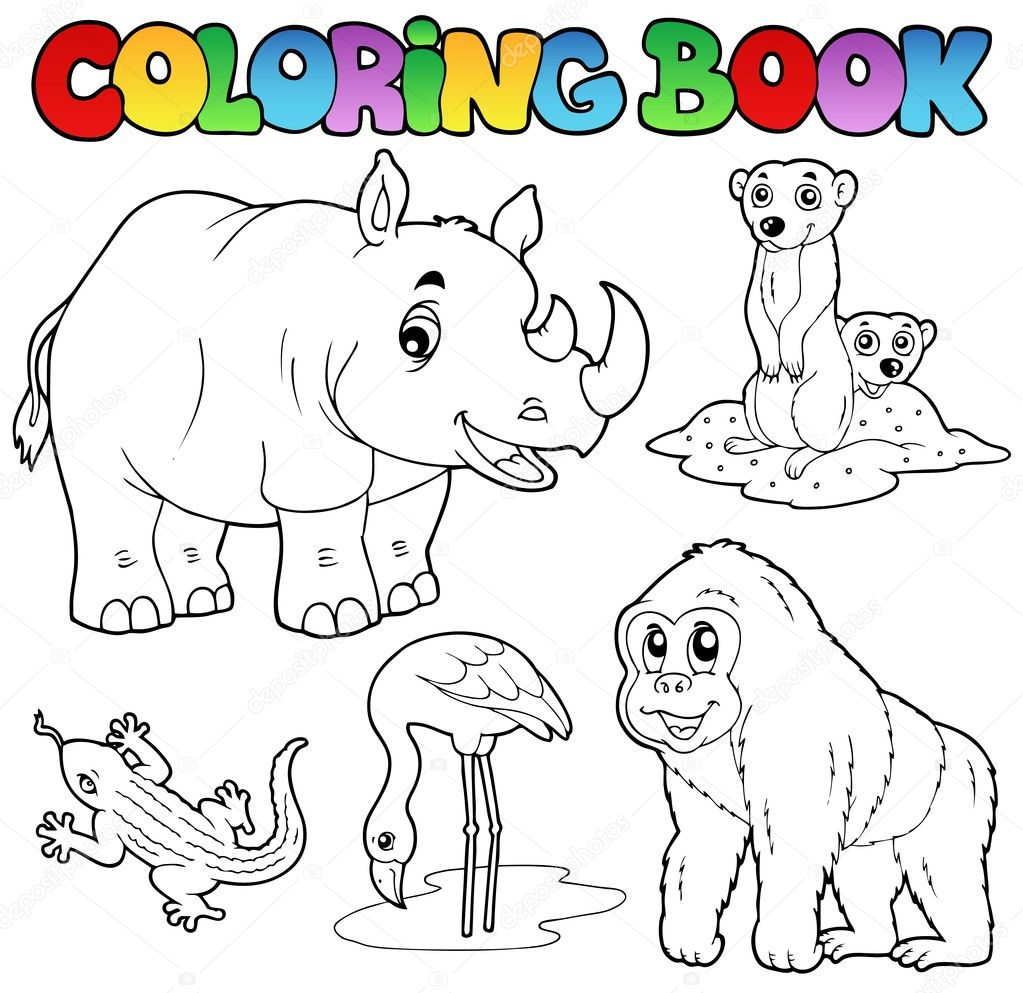 Coloring book zoo animals set 1 — Stock Vector © clairev #8444866