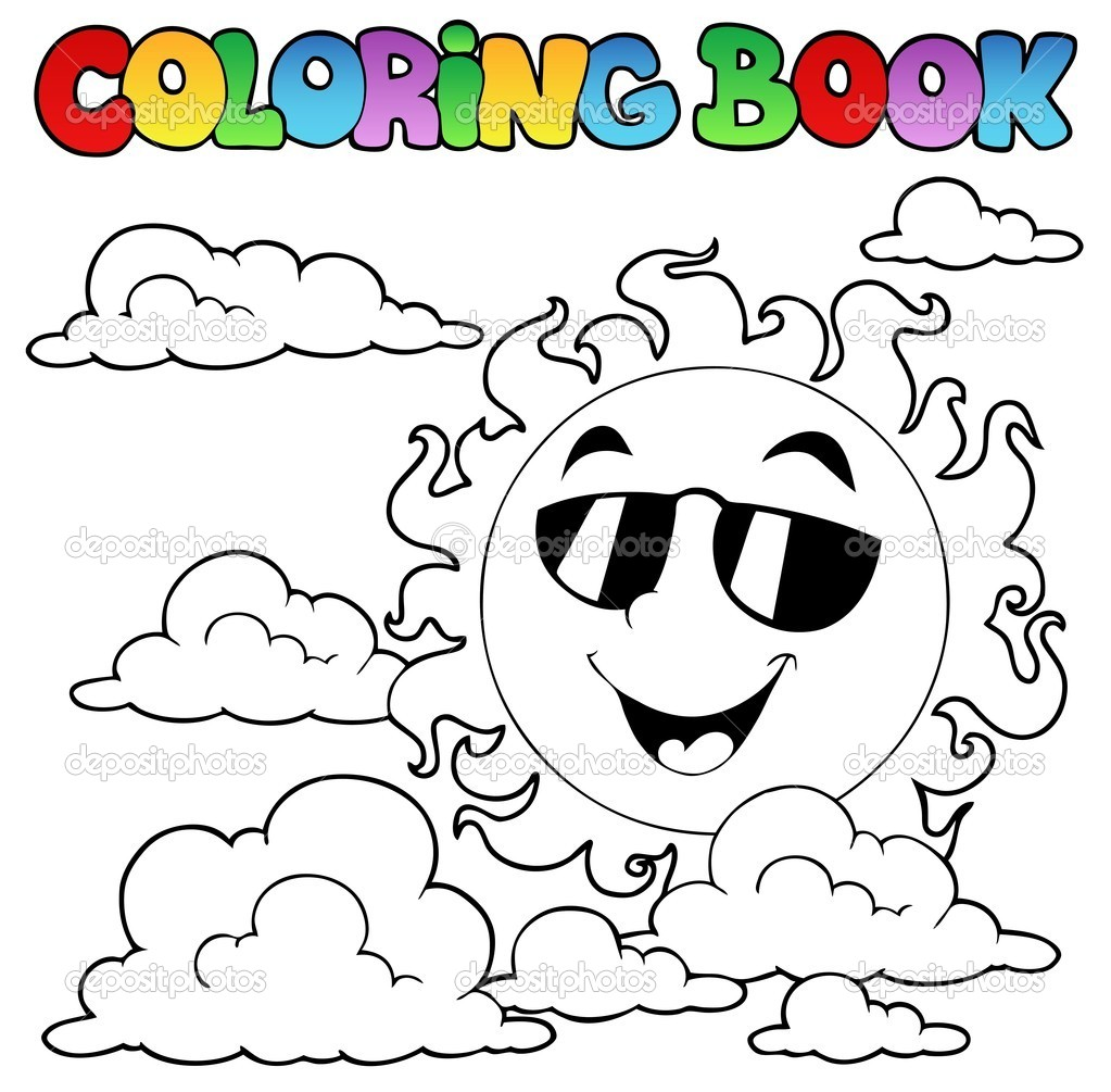 libro de colorear con sol y nubes 1 — Archivo Imágenes Vectoriales ...