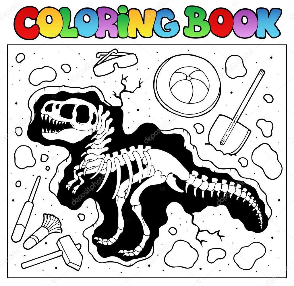 libro de colorear con sitio de excavación — Archivo Imágenes ...