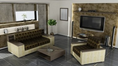 Modern home interior 3d rendering. high resolution