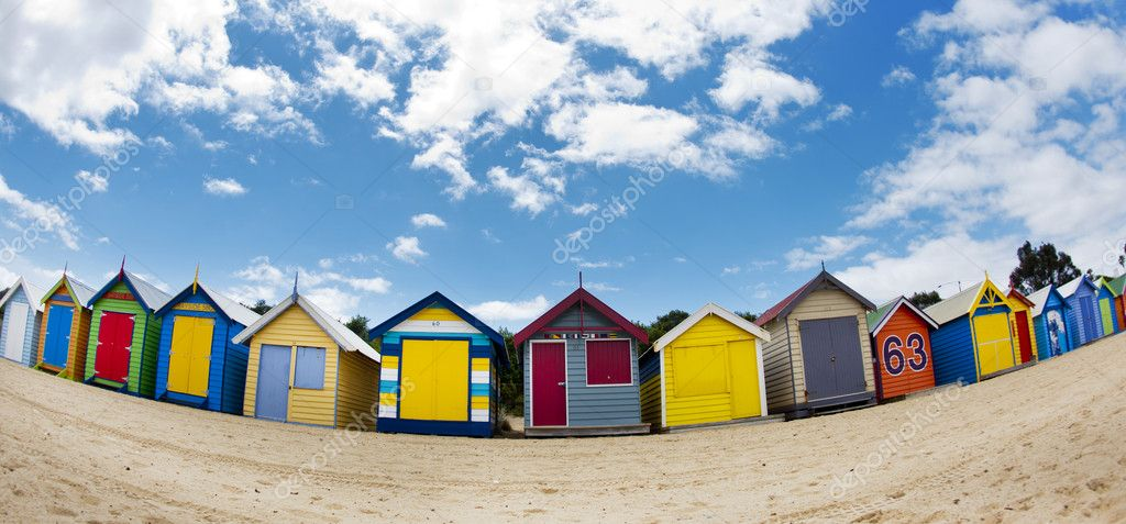 Bathing boxes on Brighton beach next to Melbourne, Australia