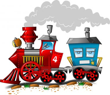 Red and blue locomotive carriage ride by rail (vector illustration); clip art vector