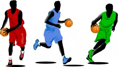 Three colors of basketball