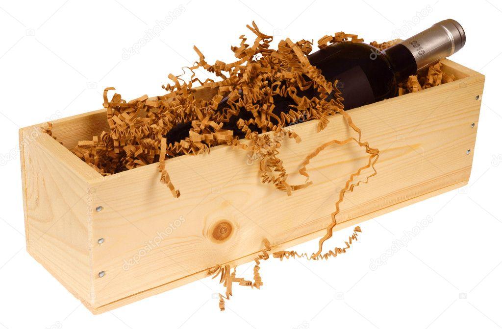 houten kistje wijnfles