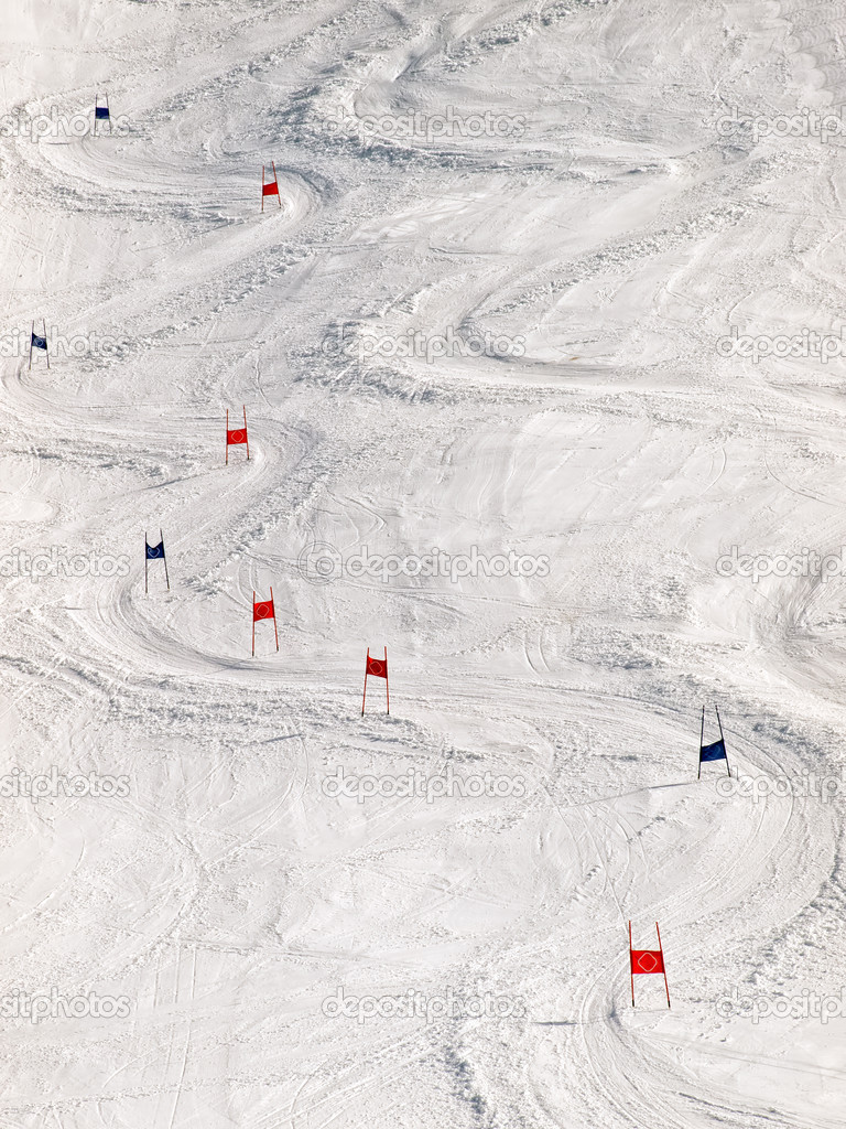 View of the ski slope with slalom markers.