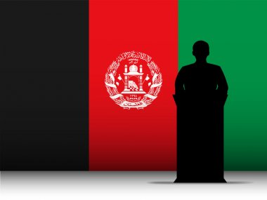 Afghanistan Speech Tribune Silhouette with Flag Background