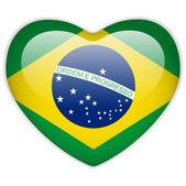 Photo Brazil Flag Heart Glossy Button