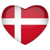 Denmark Flag Heart Glossy Button